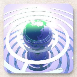 Global communication, conceptual computer drink coaster