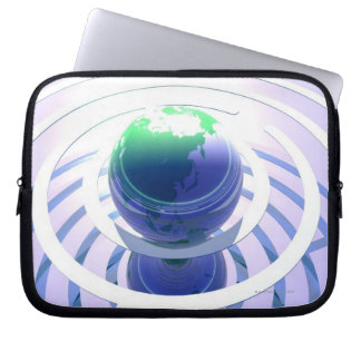 Global communication, conceptual computer laptop sleeve