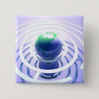 Global communication, conceptual computer pinback button