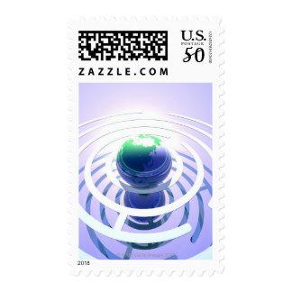Global communication, conceptual computer postage