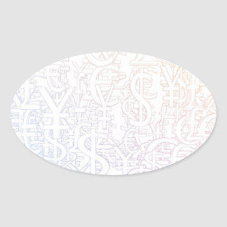 Global Currencies Background as a Currency Pattern Oval Sticker