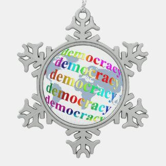 Global Democracy Snowflake Pewter Christmas Ornament