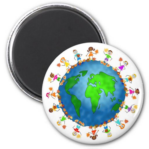 Global Fall Kids 2 Inch Round Magnet