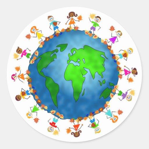 Global Fall Kids Classic Round Sticker