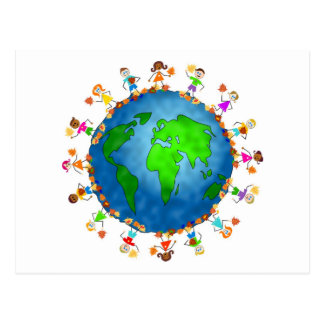 Global Fall Kids Postcards