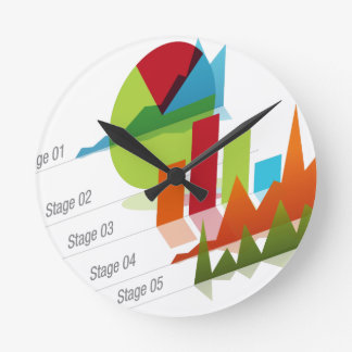 Global Graph Chart Round Wall Clock