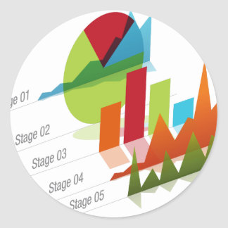 Global Graph Chart Classic Round Sticker