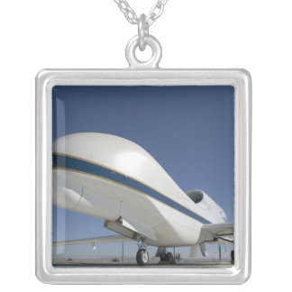 Global Hawk unmanned aircraft 2 Silver Plated Necklace