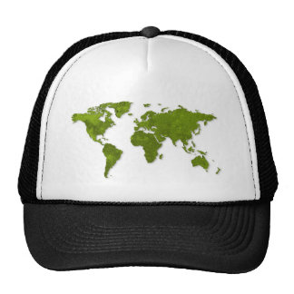 global map green on white graphic pattern trucker hat