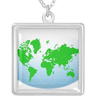 Global Map Square Pendant Necklace