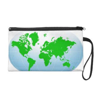 Global Map Wristlet Clutch