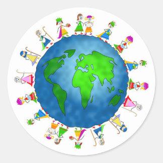Global Nativity Kids Round Sticker