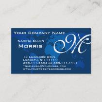 Global Professional Elegant Deep Blue World Map Business Card