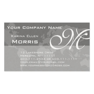 Global Professional Elegant Monogram World Map Business Card Templates