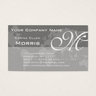 Global Professional Elegant Monogram World Map Business Card