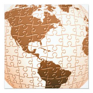 """Global Puzzle Invitations 5.25"""" Square Invitation Card"""