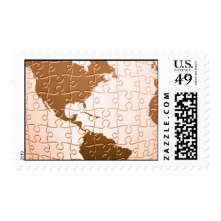 Global Puzzle Postage Stamp