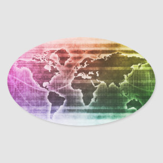 Global Science Research Project as a Concept Oval Sticker