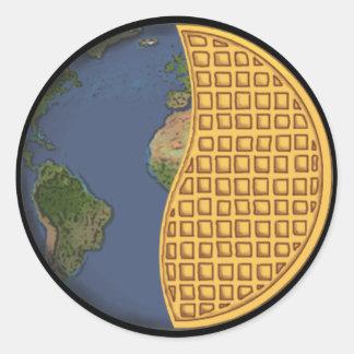 Global Vegan Waffle Party Sticker, Round