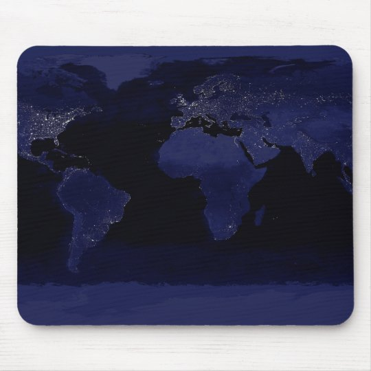 Global View of Earth's City Lights Mouse Pad