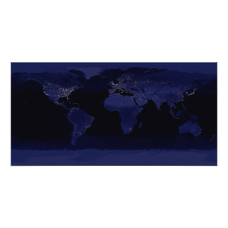 Global View of Earth's City Lights Photo Print