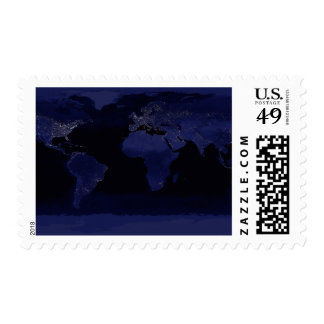 Global View of Earth's City Lights Postage Stamp