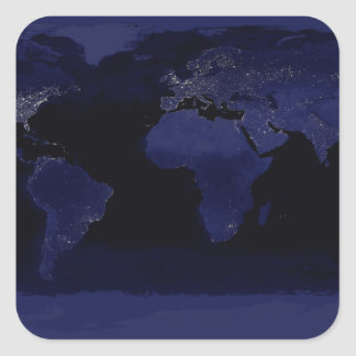 Global View of Earth's City Lights Square Sticker