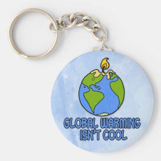 global warming basic round button keychain