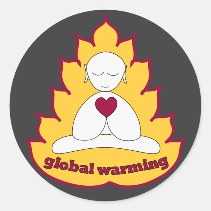 global warming classic round sticker
