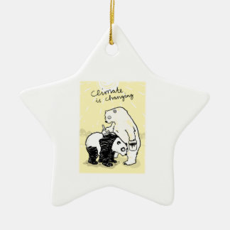 Global warming climate is changing bears ceramic ornament