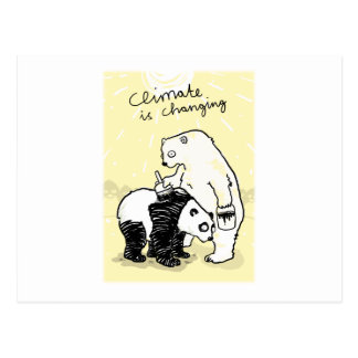 Global warming climate is changing bears postcard