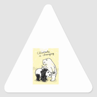 Global warming climate is changing bears triangle sticker