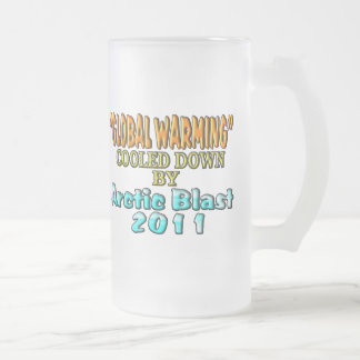 """""""Global Warming"""" Cooled Down By Arctic Blast 2011 Frosted Glass Beer Mug"""