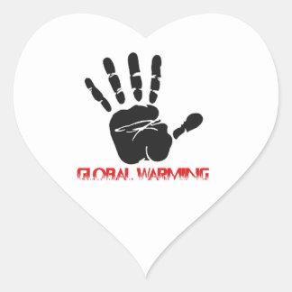 Global warming designs heart sticker
