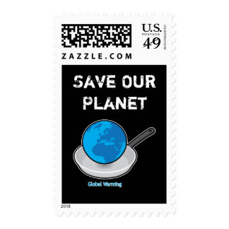 Global Warming Earth in a Pan Stamp