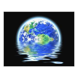 Global Warming Flooded Earth Illustration Flyer