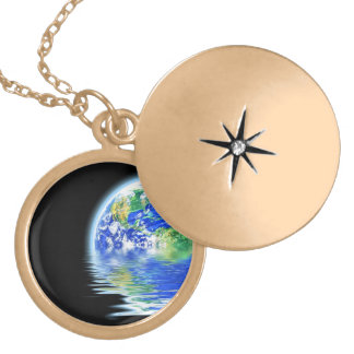 Global Warming Flooded Earth Illustration Gold Plated Necklace