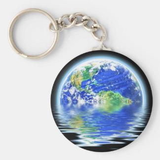 Global Warming Flooded Earth Illustration Keychain