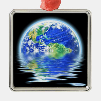 Global Warming Flooded Earth Illustration Metal Ornament