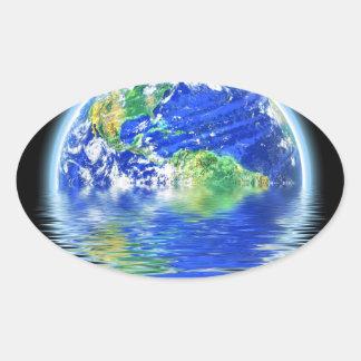 Global Warming Flooded Earth Illustration Oval Sticker