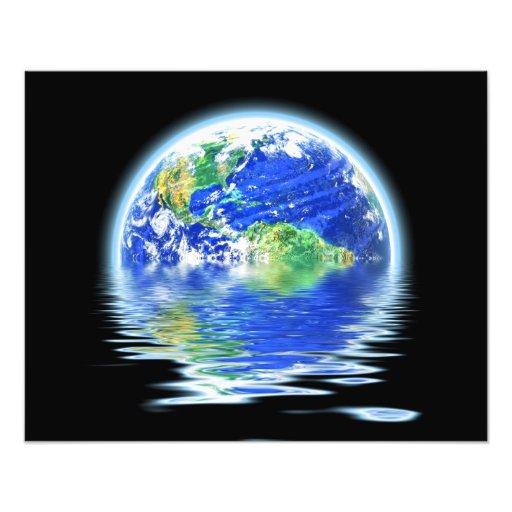 Global Warming Flooded Earth Illustration Art Photo