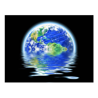 Global Warming Flooded Earth Illustration Postcard