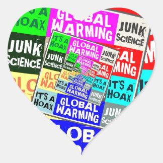 Global Warming Hoax Heart Sticker