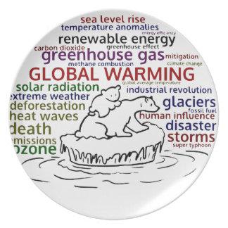 Global Warming impacts Polar Bear and cub Melamine Plate