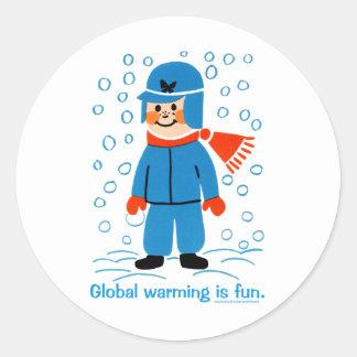Global Warming is fun Classic Round Sticker