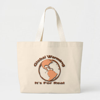Global Warming Its For Real brown Canvas Bags