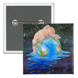 Global Warming Polar Bear and Cubs Button