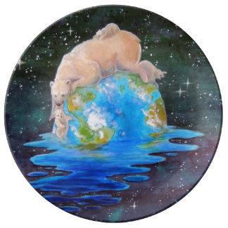 Global Warming Polar Bear and Cubs Porcelain Plate