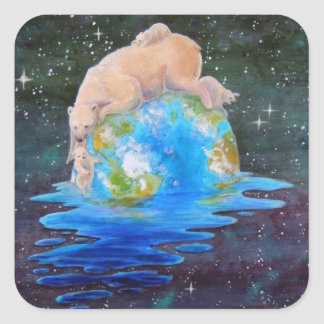 Global Warming Polar Bear and Cubs Square Sticker