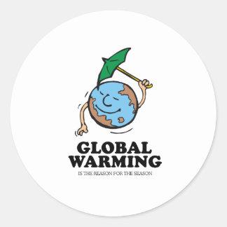 Global warming season classic round sticker